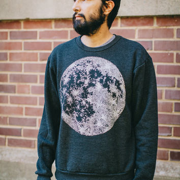 MOON men's sweatshirt - unisex sweatshirt - men or women - heather black pullover - full moon print - astronomy sweatshirt for him