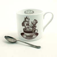 Alice in Wonderland Bone China Mug Mad Hatter  Big Tea or Coffee Crown Whimsical Lewis Carrol White Brown Cup