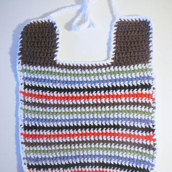 Striped Bib - PDF Crochet Pattern - INSTANT DOWNLOAD
