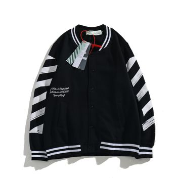 OFF- WHITE Autumn and winter casual striped arrow loose plus velvet long-sleeved jacket