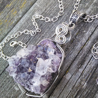 Amethyst Cluster necklace,Real Crystal Pendant,Gypsy Necklace,Crystal Jewelry,Boho Necklace,Shaman Jewelry,Wiccan Pagan, Larp Cosplay
