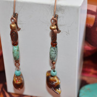 AT THE SEASIDE ***LongTurquoise , Copper and Ceramic Bird  Dangles, Ethnic earrings,Tribal  Boho Dangles.