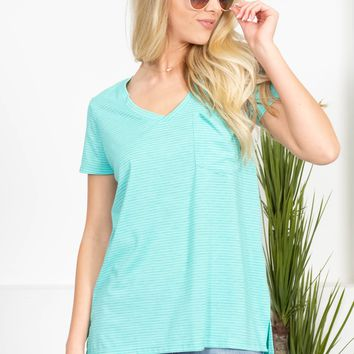 Harley Striped Pocket Tee | Teal