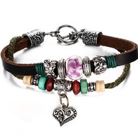 Leather Bracelet for Women Multilayer Charm Bangle Wrap Retro,20cm