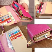 2014 Hot Women Wallets Elegant Mix Color Multifunctional PU Leather Clutch Lady Purse Phone bag Free Shipping carteira feminina