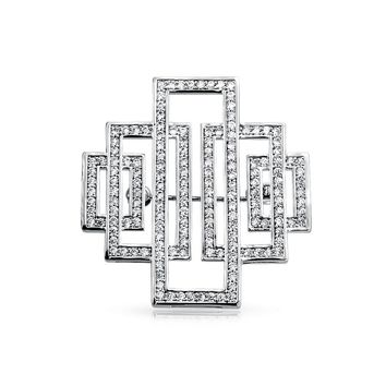 Deco Vintage Style Rectangular Brooch Pin Silver Tone Silver Plated