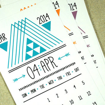 Lines, Triangles & Arrows Printable Desk Calendar INSTANT DOWNLOAD 2014 2015 PDF Monthly planner Handdrawn Typography Hipster