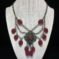Art Deco Festoon Bib Necklace Dangling Glass Carnelian Beads and Chains 618ms