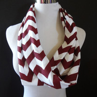TEXAS Aggie Fans New Jersey Knit Maroon & White Infinity Chevron Fashion Scarf Super Cute