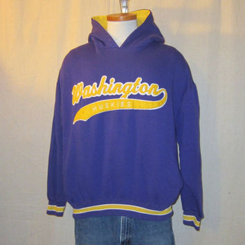 Vintage Rare 80s WASHINGTON HUSKIES HOODIE Script Starter Purple Heavy Warm College Poly-Cotton Unisex Medium Hooded Sweatshirt