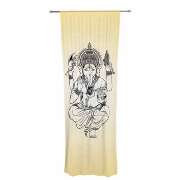 "Kess Original ""Golden Ganesha"" Gold Yellow Illustration Decorative Sheer Curtain"