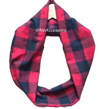 Kids Red & Black Buffalo Scarf, Red Buffalo Plaid Scarf,  Red Plaid Flannel Scarf, Red Plaid Infinity Scarf, kids Circle Scarf