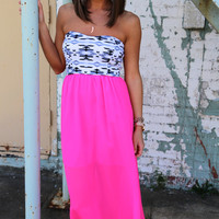 Neon Fuchsia Aztec Tube Dress