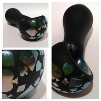 Poker Night Black Glass Pipe Spades Clubs by ESPfabrications