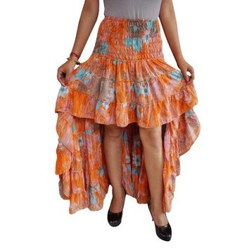 Mogul Womens Gypsy Hi Low Skirt Recycled Sari Printed Free Falling Flirty Fairy Twirling Ruffle Skirts - Walmart.com