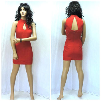 90s sexy red mini dress size 5 / 6, red cocktail dress, red formal short dress, 1990s Donna Ricco New York, SunnyBohoVintage