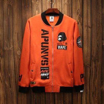 DCCKJN3 AAPE'Sports On Sale Hot Deal Couple Hip-hop Jacket Zippers Hoodies Baseball [211446333452]