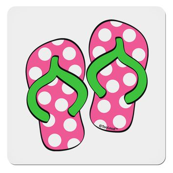 "Cute Polka Dot Flip Flops - Pink and Green 4x4"" Square Sticker"