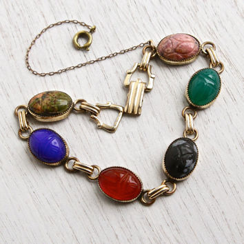 Vintage Scarab Bracelet - 14K Yellow Gold Filled Semi Precious Stone Egyptian Revival Jewelry Signed AMCO / Colorful Carved Beetles