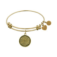 Antique  Smooth Finish Brass Flower Of Life Angelica Bangle, 7.25 Inches Adjustable