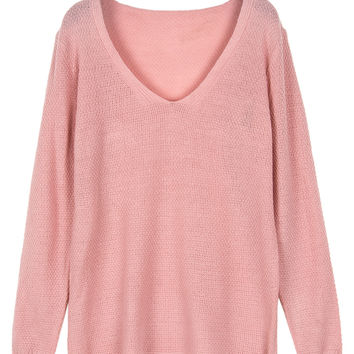 Pink V-neck Relaxed Knit Sweater