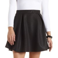Ribbed Pleated Skater Skirt by Charlotte Russe