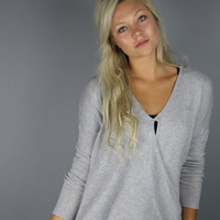 Grey Overlap Sweater