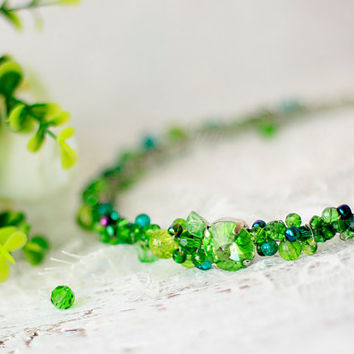 Green Handband Headpieces hair green crown green tiara headband hair band of beads green crystal tiara crystal hair piece diadem circlet