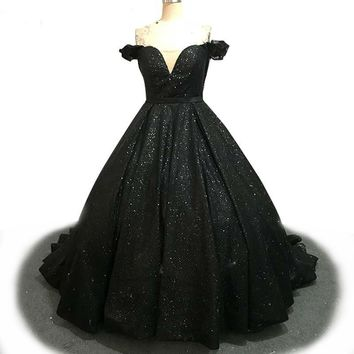 Black Shiny Evening Dress Off Shoulder Long Ball Gown