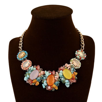 Gift New Arrival Shiny Jewelry Stylish Fashion Multi-color Gemstone Crystal Floral Necklace [6056701825]