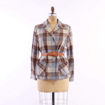 50s WOOL 49er JACKET / 1950s Blue & Cocoa Brown Plaid Fall Jacket, m-l