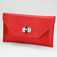 Red Alligator Faux Leather Clutch