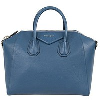Givenchy Women's Antigona Sugar Goatskin Leather Satchel Bag, Teal Blue
