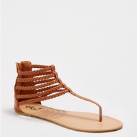 Cognac Braided Gladiator Sandal