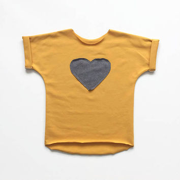 Toddler shirt. Infant t-shirt. Yellow cotton top with grey heart. Boys or girls wear. Baby clothes. Rolled over short sleeves.
