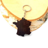 France shape Wooden Keychain, Walnut Wood, Europe Keychain, Environmental Friendly Green materials