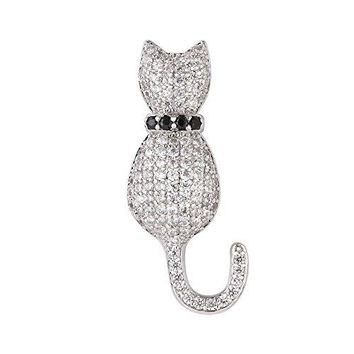 Cat Brooches Women Fashion Suit Accessories Cubic Zirconia Cute Lapel Pin Corsage Platinum18K Gold Plated Brooch