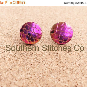 Back To School Sale Earrings Magenta Gold Mermaid Dragon Fish Scales Stud Earrings Boho Jewelry 12MM
