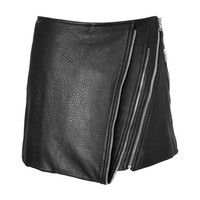 Barbara Bui - Leather Mini-Skirt with Zip Detailing