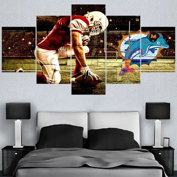 New Style Rugby Football Miami Dolphins Paintings Wall Home Decor Picture Canvas Painting Calligraphy For Living Room Bedroom
