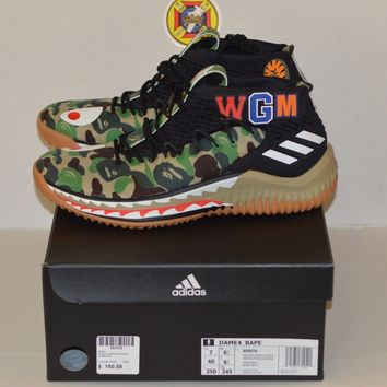 NEW Adidas x Bape Dame 4 Green Camo Size 7 DS 100% authentic 8fa48d71d