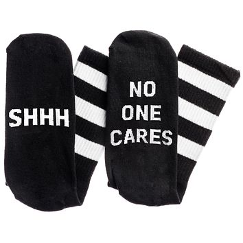 Shhh...No One Cares Socks in Black and White