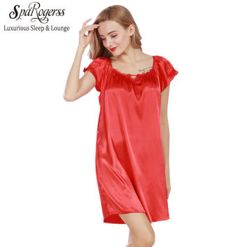 SpaRogerss Lace Women Nightgowns 2017 Faux Silk Summer Ladies Sleep Lounge Lace Dressing Gown Female Sleep Dress Size L SQ333