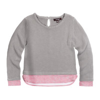 Long-Sleeve Illusion Sweater, Gray, Size 8-14,