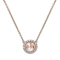 Rose Gold Bonded Sterling Silver Simulated Morganite Halo Necklace