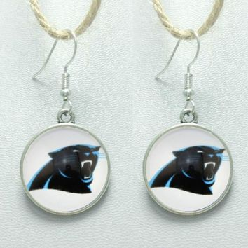 10Pair Sports Time Gem Charm Earrings Carolina Panthers Glass Stud/Pendant Earrings Football