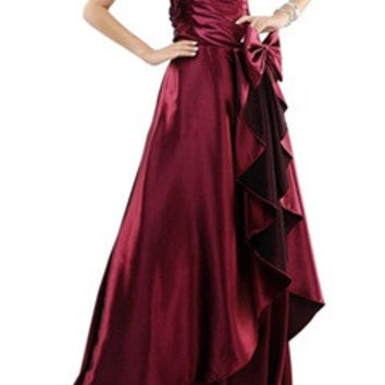 Burgundy Side Waterfall One Shoulder Sequin Top Formal Dress