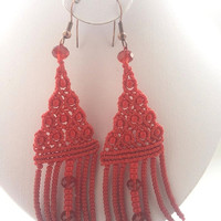 Red  lengthen micro macrame earrings / free shipping