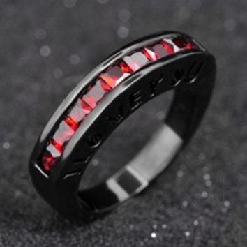 Ruby Jewelry Fashion Wedding Ring White CZ Diamond 10KT Black Gold Filled Rings Size 6 7 8 9 10