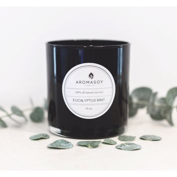 """EUCALYPTUS MINT"" Soy Candle Black Glass 10 oz"